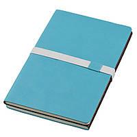 Записная книжка 'Doppio' (JournalBooks), белый блок в линейку, кожзам, чехол, голубая