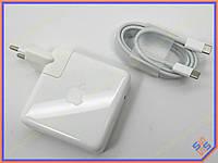 Блок питания для ноутбука APPLE USB-C (USB 3.1) 61W (20.3V, 14.5V, 9V, 5.2V) A1718 ORIGINAL. MacBook Pro MNF72LL/A (В комплекте USB-C кабель ORIGINAL)
