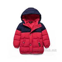 Куртка-пуховик зимняя для мальчика Yashili 18401 красная  размер 120 (5-6 лет)