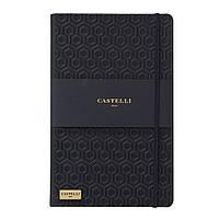 Записная книжка Кастелли Honeycomb, кремовый блок в линейку, кожзам, золотой срез, черная