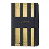 Записная книжка Кастелли Stripes, кремовый блок в линейку, кожзам, золотой срез, золотая, фото 1