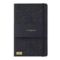 Записная книжка Кастелли Baroque, кремовый блок в линейку, кожзам, золотой срез, черная