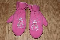 Варежки детские на махре Розовые, фото 1