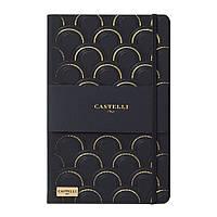 Записная книжка Кастелли Art deco, кремовый блок в линейку, кожзам, золотой срез, черно-золотая