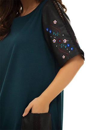 """Прямое комбинированное платье """"Cristal"""" с накладными карманами и вышивкой, фото 2"""