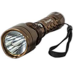Фонарь ручной светодиодный E-SMART 9608 бронза походный тактический мателлический в руку с ремешком led яркий