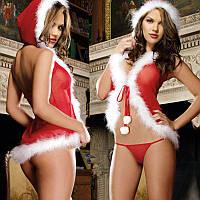 Новогодний костюм с капюшоном / Эротическое белье / Сексуальное белье / Еротична сексуальна білизна