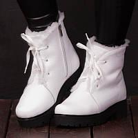 Женские зимние белые кожаные ботинки с шнурками и молнией с подкладкой из шерсти