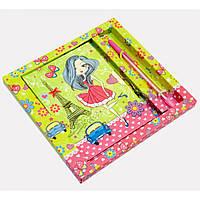 Блокнот с замком для девочек зеленый 2 ключа ручка 19х18х2см (29464A)