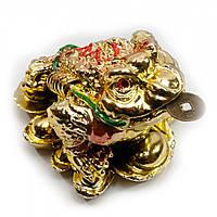 Жаба на монетах золотая 5х3,5х4,5см (20227)