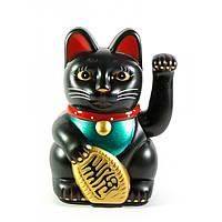 Кошка Манэки-нэко машущая лапой 12,5х8,5х6,5см пластик черная (30873)