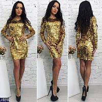 d8b67aaedc1 Женское прямое платье с округленным вырезом на спине в паетках золотистого  цвета. Арт - 18543