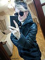Шуба женская + рукава кожа 016 (37)