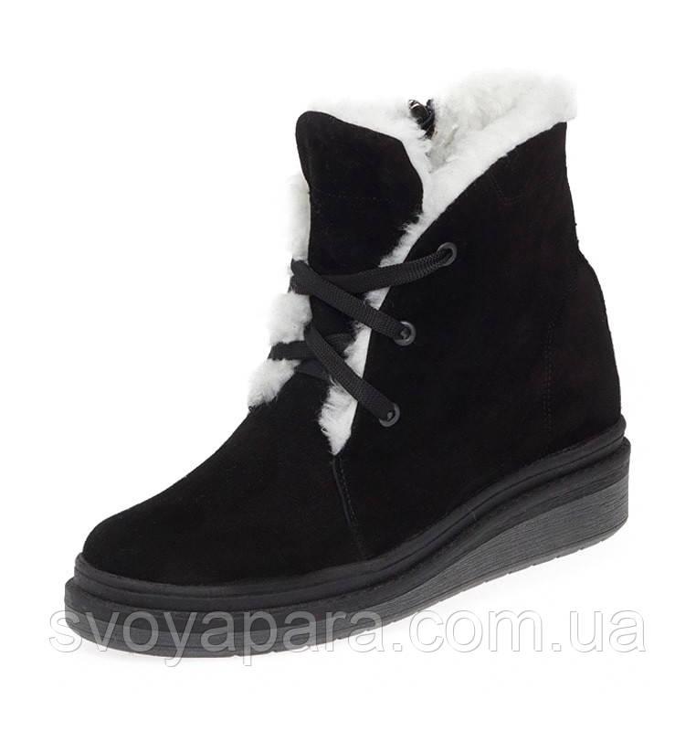Женские зимние ботинки черные замшевые (00103)