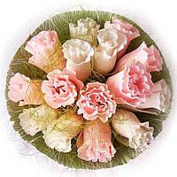 Букет из конфет Бело-розовые розы 4041