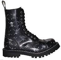 Высокие ботинки Steel черные с черепами на 10 дырок 149850 36