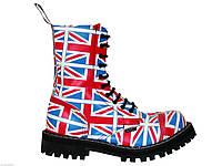Высокие ботинки Steel разноцветные с британским флагом на 10 дырок 149864 47,46,45,44,43,42,41,40,39,38,37,36