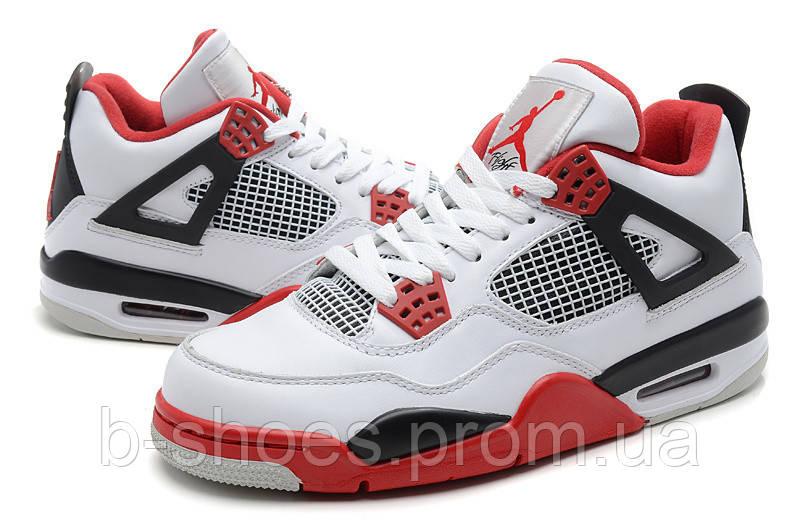 Мужские кроссовки Air Jordan Retro 4 (White/FireRed)