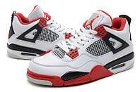 Мужские кроссовки Air Jordan Retro 4 (White/FireRed), фото 1