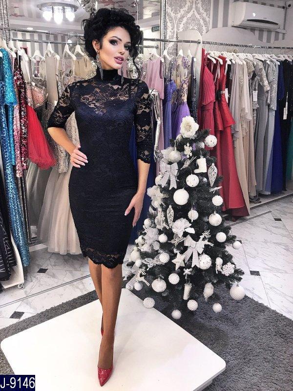 884f5ce6584 Гипюровое облегающие женское платье миди с подкладкой микродайвинг черного  цвета. Арт - 18559 - Интернет