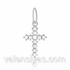 Крестик серебряный декоративный с камнями П2Ф/304