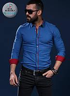 Рубашка синяя мужская , фото 1