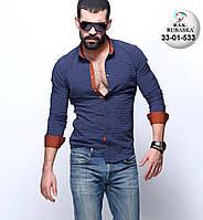 Сорочка чоловіча з довгим рукавом темно синя, фото 1