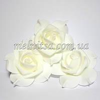 Роза из фоамирана с защипами на лепестках, цвет молочный, 7 см