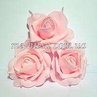 Роза из фоамирана с защипами на лепестках, цвет розовый, 7 см