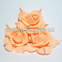 Роза из фоамирана с защипами на лепестках, цвет персиковый, 7 см