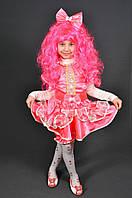 Костюм Кукла + парик для девочки 2-7 лет. Детский новогодний маскарадный карнавальный Хлопушка Конфетка малина