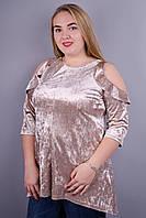 Люкс. Красивая женская туника больших размеров. Золотистый.