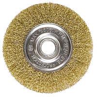 Щетка для УШМ 100 мм посадка 22,2 мм плоская латунированная витая проволока MTX 746489
