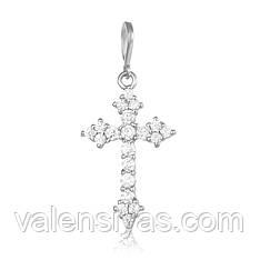 Серебряный крестик с камнями декоративный  П2Ф/423