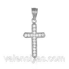 Серебряный крестик с камнями декоративный  П2Ф/426