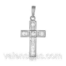 Серебряный декоративный крест на цепочку П2Ф/427