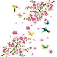"""Наклейка на стену, виниловые наклейки """"птицы с бабочками возле сакуры"""" (лист 60*90см)"""