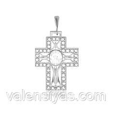 Серебряный крест с камнями декоративный  П2Ф/438