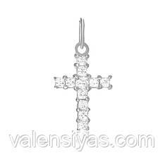 Серебряный крестик с камнями П2Ф/448
