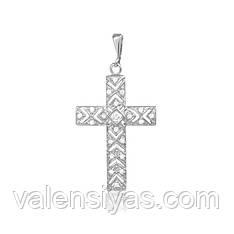 Серебряный крестик с камнями декоративный  П2Ф/470