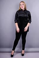 Юки. Модный женский костюм двойка больших размеров. Черный.