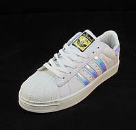 Кроссовки женские Adidas Superstar бело-неоновые (р.36,37,38,39,40)