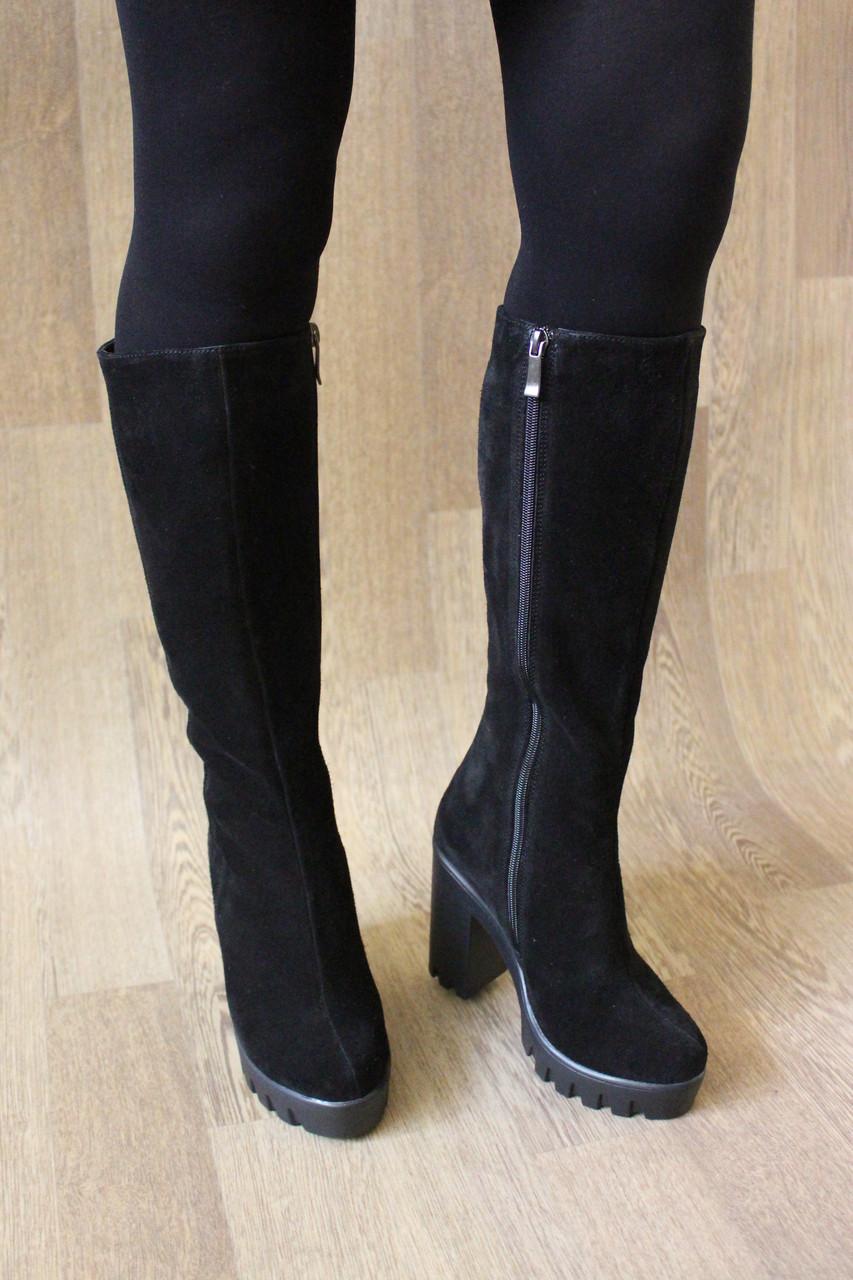 Зимние женские сапоги на удобном каблуке из натуральной замши №773 37 размер