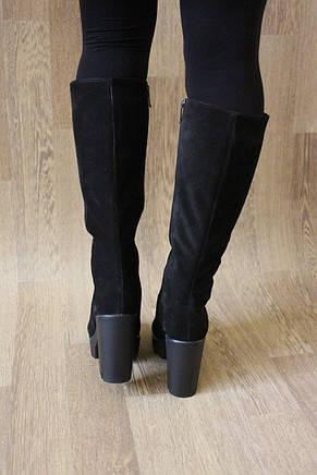 Зимние женские сапоги на удобном каблуке из натуральной замши №773 37 размер, фото 2