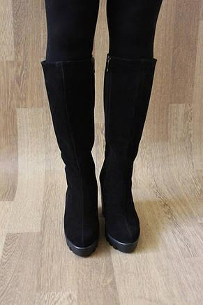 Зимние женские сапоги на удобном каблуке из натуральной замши №773 37 размер, фото 3