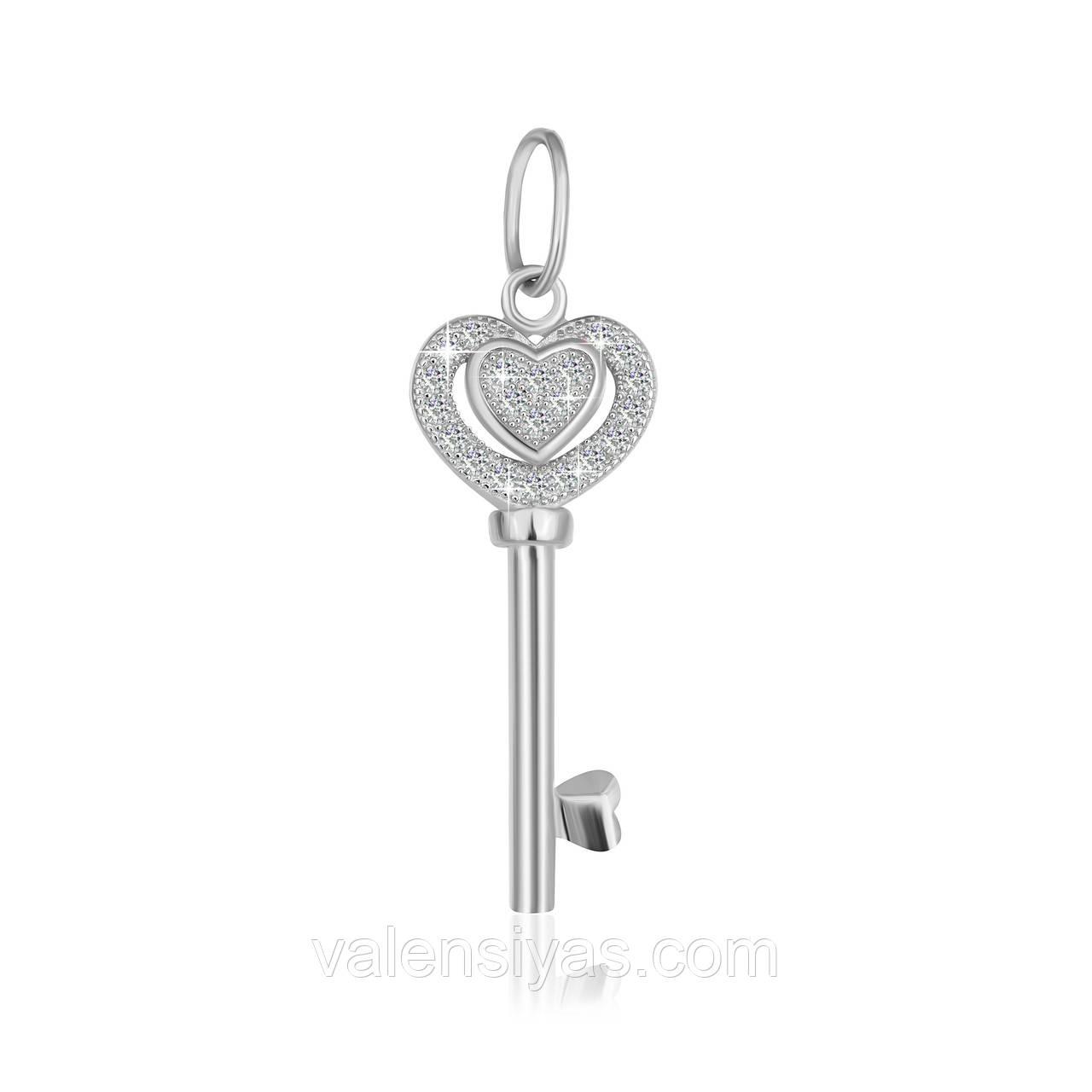 Срібна підвіска ключик з камінням П2Ф/700