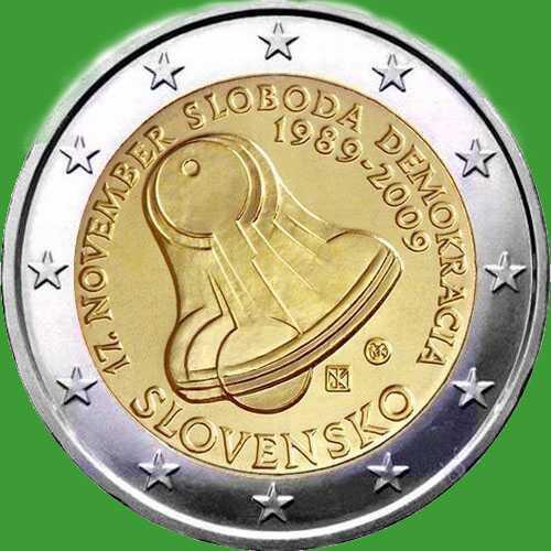 Словакия 2 евро 2009 г. 20 лет бархатной революции. UNC