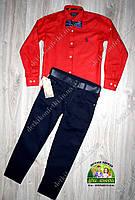 Комплект для мальчика: рубашка красная Polo и брюки темно-синие