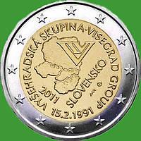 Словакия 2 евро 2011 г. 20 лет формирования Вышеградской группы . UNC