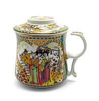 """Чашка заварочная с ситом (300мл.)(BN125-3) """"Гейши"""" (h-9cм, d-8см)"""